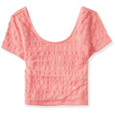 Aeropostale Lace Stripe Bodycon Crop Top ($3.99) ❤ liked on Polyvore featuring aloha coral and aéropostale