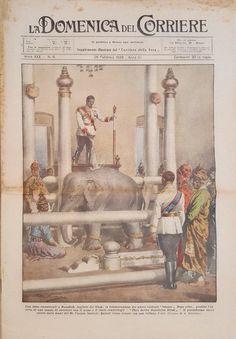 King of Thailand : King Prajadhipok (RAMA VII) พระบาทสมเด็จพระปรมินทรมหาประชาธิปก พระปกเกล้าเจ้าอยู่หัว ภาพจากปกหนังสือพิมพ์ อิตาลี LA DOMENICA DEL CORRIERE  N°9  26 febbraio 1928 ; ๒๖ กุมภาพันธ์ ๒๔๗๑  พระบาทสมเด็จพระปกเกล้าเจ้าอยู่หัวประกอบพระราชพิธี สมโภช และขึ้นระวาง พระเศวตคชเดชน์ดิลก เป็นช้างสำคัญ เมื่อวันที่ ๑๕-๑๖ พฤศจิกายน ๒๔๗๐ ภายหลังจากได้ทรงทำพิธีรับช้างเผือกจากมณฑลฝ่ายเหนือเมื่อ พ.ศ.๒๔๖๙