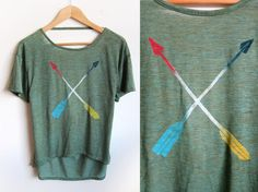 Striped Tribal Arrows Hand Stenciled Deep Scoop Back Neck Heather Burnout Tee in Fresh Green Wood and Primary Colors