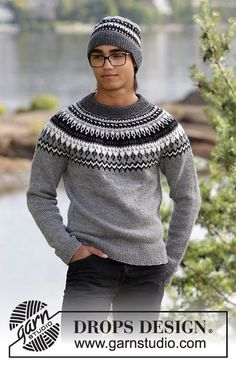 Dalvik - The set consists of: Men's knitted jumper with raglan, round yoke and multi-coloured Nordic pattern and knitted hat with multi-coloured Nordic pattern. Sizes S - XXXL. The piece is worked in DROPS Karisma. - Free pattern by DROPS Design Fair Isle Knitting Patterns, Sweater Knitting Patterns, Knitting Designs, Free Knitting, Mens Knit Sweater Pattern, Drops Design, Raglan Pullover, Icelandic Sweaters, Types Of Shirts