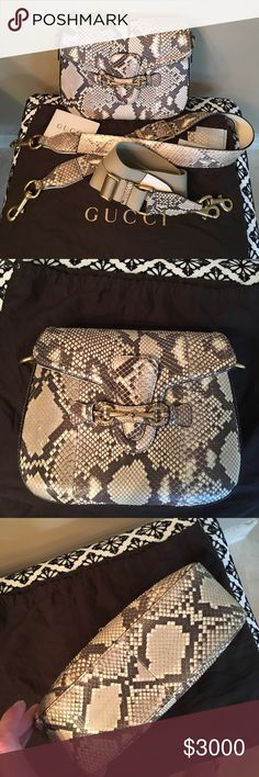 GUCCI lady web Python bag Mint condition!  Cream and taupe Python with gold hardware. Cream leather lining with one zippered pocket and one snap pocket inside.  Comes with dustbag and two straps.  One full Python strap for shoulder and one Python and canvas adjustable strap for shoulder or crossbody. Gucci Bags Crossbody Bags