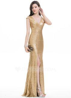 Corte trompeta/sirena Escote en V Hasta el suelo Con lentejuelas Vestido de noche con Apertura frontal (017105906)