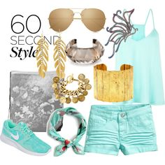 Aviator Sunglasses and Casual Outfit in Aqua / Turquoise by cricketdiane on Polyvore featuring H&M, NIKE, Chanel, Évocateur, Eliot Danori, Charlotte Russe, Linda Farrow and rumisu