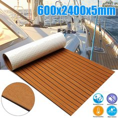 """EVA Teak Decking For Boat Non-slip Marine Flooring Carpet 95/""""×17.7/"""" Whole Black"""