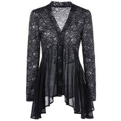 $14.46 Button Up Floral Lace Blouse - Black