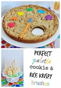 Art party treats: Giant artist's palette cookie and rice krispy paint brushes.