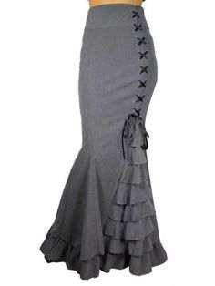 Long Fishtail Corset  Lace-Up Floor length  Skirt - Steampunk Funk