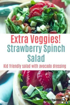 This strawberry spinach salad is made even healthier with this amazing avocado dressing that it uses! This is the best way to get kids to eat even more veggies! Clean Eating Recipes, Cooking Recipes, Healthy Recipes, Delicious Recipes, Frugal Meals, Easy Meals, Salads For Kids, Summer Salads, Easy Vegetable Side Dishes
