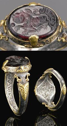 A FINE AND RARE SELJUK SILVER AND GOLD RING SET WITH A DEEP PURPLE STONE SEAL BEARING THE NAME OF ALI IBN YUSUF, PERSIA, 12TH CENTURY. Inscriptions: bi'llah yathiq 'ali; 'Ali puts his trust in God' The name 'Ali is written within the image of the lion which often represents 'Ali as he is called Asadullah 'Lion of God'. Around the bezel: al-'izz al-da/'im wa al-i/qbal al/ al-baqa; Perpetual Glory and Prosperity [and] Long-life' Inside the ring, in Persian: Undeciphered.