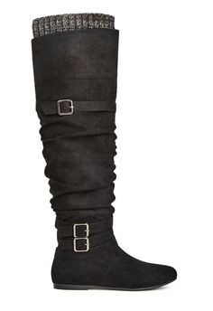 Over-the-knee boots are having a major moment and Clemm will up the ante to your outfit in a cinch. l  JustFab