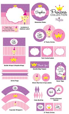 Princess Collection-princess, crown, queen, polka dots, stripes, printable, invitation, castle