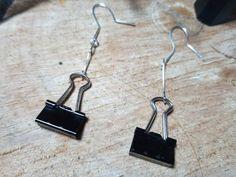 Funky Earrings, Clip On Earrings, Dangle Earrings, Jewelry Gifts, Handmade Jewelry, Handmade Items, Mini Binder, Binder Clips, Bohemian Jewellery