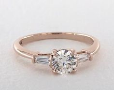 engagement rings, three stone, 14k rose gold tapered baguette diamond engagement ring item 50408