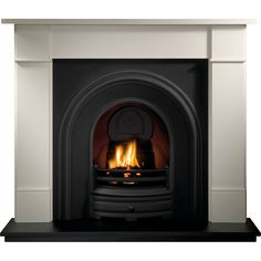 Gallery Brompton Stone Fireplace with Crown Cast Iron Arch Wooden Fireplace Surround, Cast Iron Fireplace Insert, Fireplace Fronts, Limestone Fireplace, Fireplace Inserts, Fireplace Surrounds, Fireplace Design, Fireplace Ideas, Fireplace Bookcase