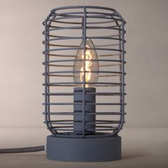 Industrial desk light wire cage table lamp industrial desk buy john lewis tarny metal wire cage table lamp grey online at johnlewis greentooth Images