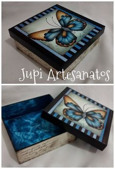Jupi Artes: Caixa Mais Decoupage Suitcase, Decoupage Box, Decoupage Vintage, Tole Painting, Painting On Wood, Painted Wooden Boxes, Country Paintings, Pretty Box, Altered Boxes
