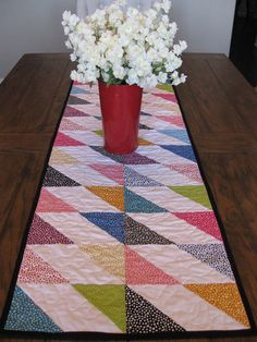 Beautiful fabrics by Robert Kaufman in a variety of colors and all have dots and bordered in black to make all the colors pop. This table runner just waiting to be placed on your table or draped over an ottoman. Can also be used on a dresser or chest of drawers. Place a pretty lamp, fresh flowers or even a collection of picture frames of family and friends or a collection of perfume bottles. Just let your imagination run and think outside the box. All the fabrics are 100% cotton, Warm & N...