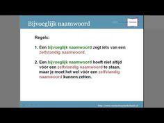 Grammatica woordsoorten: lidwoord, bijvoeglijk naamwoord, zelfstandig naamwoord Learn Dutch, Dutch Language, Learning To Be, School Projects, Grammar, Spelling, Teacher, Slim, Education