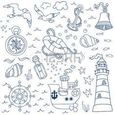scrapbooking voyage: Mer nautique Design Elements - pour scrapbook et de conception dans le vecteur
