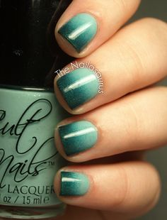 Mint green ombre mani