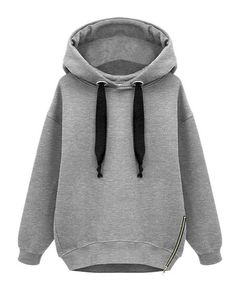 Drawstring Zipper Decoration Hooded Sweatshirt from chicnova >:3 I love oversized clothes