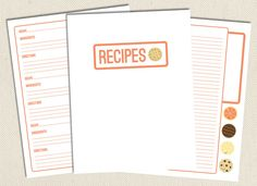 PRINTABLE: PAGES FOR YOUR RECIPE BINDER