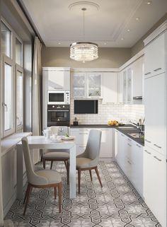 На фото – интерьер маленькой узкой кухни в бело-серых тонах