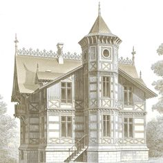 1873 Architectural Print Maison de Campagne by CarambasVintage
