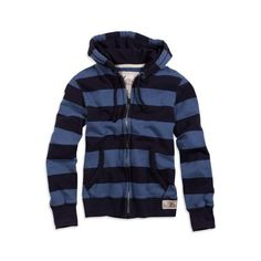 AE Men's Striped Full Zip Hoodie (Sail Blue) found on Polyvore featuring polyvore, men's fashion, men's clothing, men's hoodies, clothing, jackets, hoodies, men, sweaters and outerwear