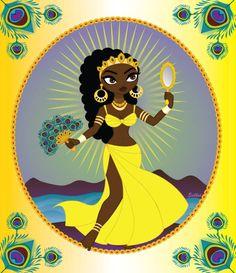 Oshun, Yoruba goddess of love, beauty, prosperity and rivers. Also worshipped in Cuban Santeria and Brazilian Candomble.