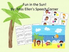Free! Fun in the Sun! Pronoun, preposition, and verbs practice with summer beach characters