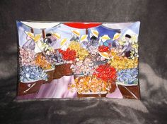 "Handcrafted Art Glass Tray Omaggio a Painter? Flower Market Scene 10.25"" x 6.75"" #Modern"