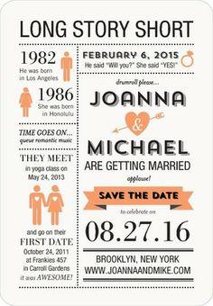 Long Story Short - Save the Date Magnets - East Six Design - Tangerine - Orange