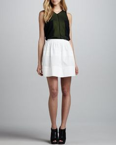 Perforated-Stripe Cotton Skirt by Robert Rodriguez at Neiman Marcus.