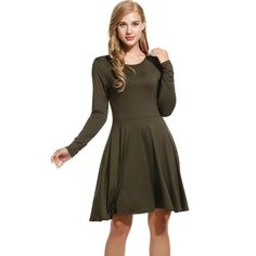 Dresslink - Dresslink Army green New Women O-Neck Long Sleeve Solid Pleated Casual Dresses - AdoreWe.com