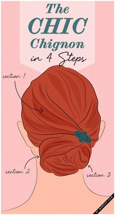 How to do the chignon bun in for easy steps. Trust us, this hairstyle tutorial is a lot easier to do than it is to pronounce!