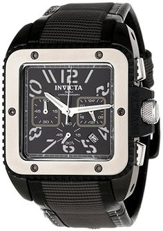 Black Stainless Steel Chronograph Quartz Square Black Dial Black Strap