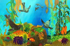 Mural at Mar Vista Elementary School Team Bulletin Board, Under The Sea Theme, Mural Ideas, Donkey, Elementary Schools, Seal, Join, Education, Painting
