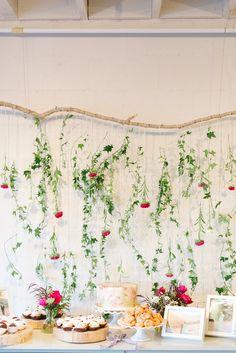 Baby shower dessert table, flower backdrop by Petite Petal Co.