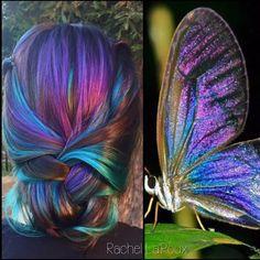 Gorgeous iridescent mermaid hair and style inspired by a butterfly by @rachellaroux13 fb.com/hotonbeautymagazine ombre balayage rainbow hair mermaid hair
