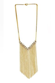 14k Gold Plated Swarovski Crystal V Necklace