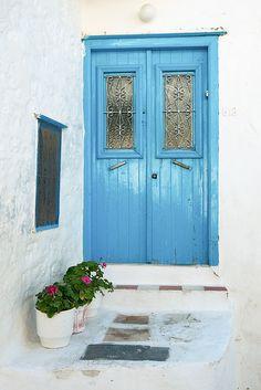 Blue door on the island of #Hydra, #Greece #kitsakis