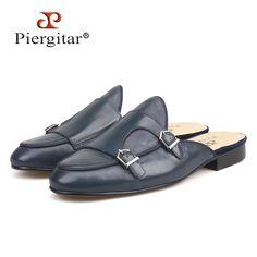 e73d48e29e22 Piergitar handmade men s leather slippers with metal decoration