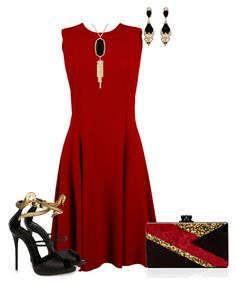 """Golden Ruby Onyx"" by sweetnuff on Polyvore featuring Dolce&Gabbana, Giuseppe Zanotti, Kendra Scott, Givenchy and Edie Parker"