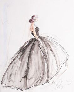 Modezeichnung – Illustration – – Keep up with the times. Fashion Sketchbook, Fashion Illustration Sketches, Fashion Sketches, Sketchbook Ideas, Illustration Art, Sketchbook Drawings, Design Illustrations, Art Drawings, Christian Siriano