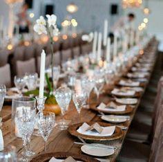Elegant wedding reception with rustic farm tables, elegant chandeliers and crystal stemware. Chic Wedding, Elegant Wedding, Wedding Table, Wedding Events, Wedding Styles, Rustic Wedding, Dream Wedding, Wedding Ceremony, Weddings