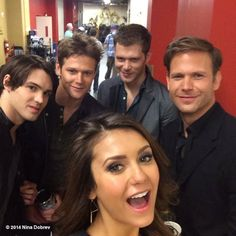 "Nina Dobrev (at a Vampire Diaries photo shoot) posts a selfie making fun of her ""many boyfriends"" in response to tabloid rumors. She's wearing my Calder Geo Earrings!  http://www.peggyli.com/calder-geo-earrings.html"
