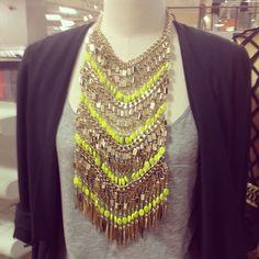 Sass & Bide Gold + Neon Bib Necklace
