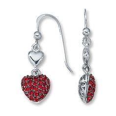 Lab-Created Ruby Earrings Round-Cut  Sterling Silver