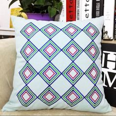Geometric embroidered throw pillow for home decoration linen square cushion